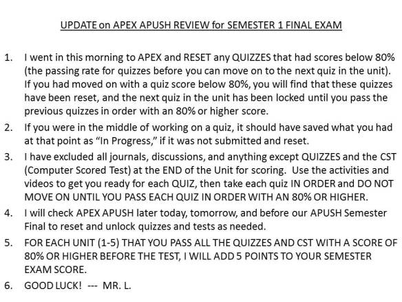 apush final exam Ap us history diagnostic test 1  detailed scoring results at the end of your ap  us history practice test to help you identify your strengths and weaknesses.